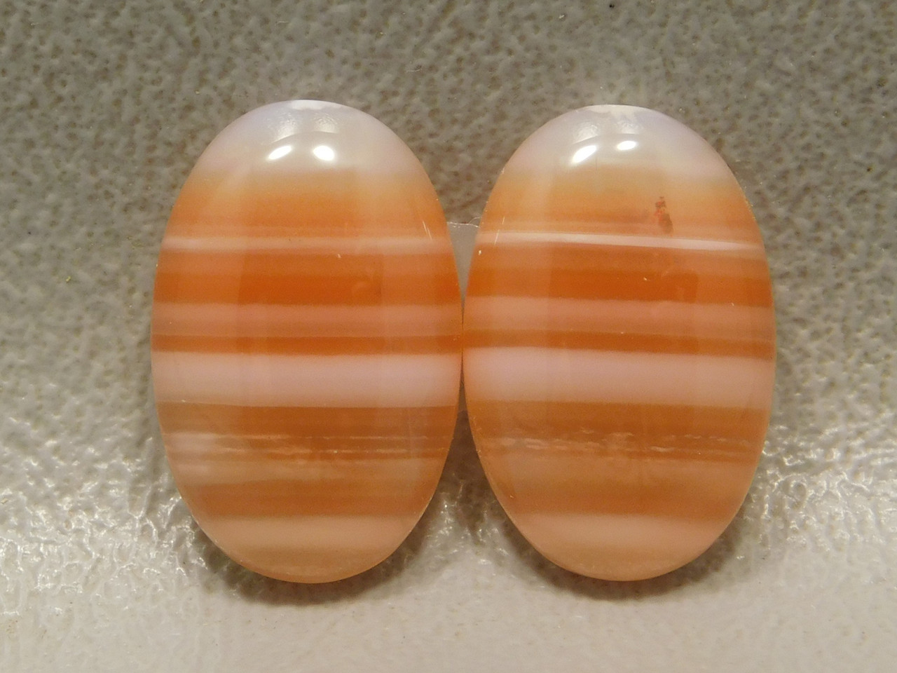 Cabochons Striped Orange White Carnelian Agate Matched Pairs #24