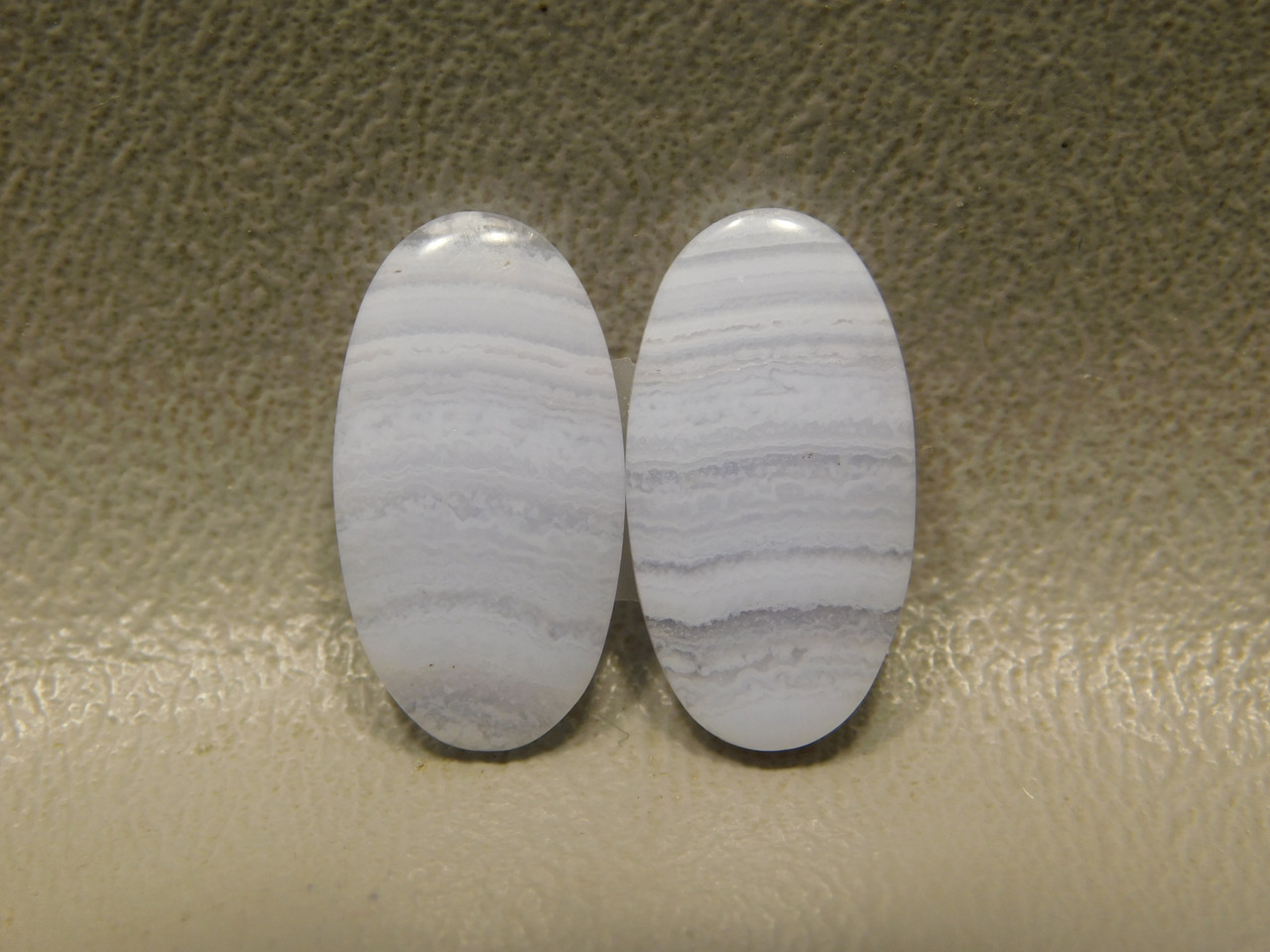 Ovals Stone Cabochons Blue Lace Agate Matched Pairs #8