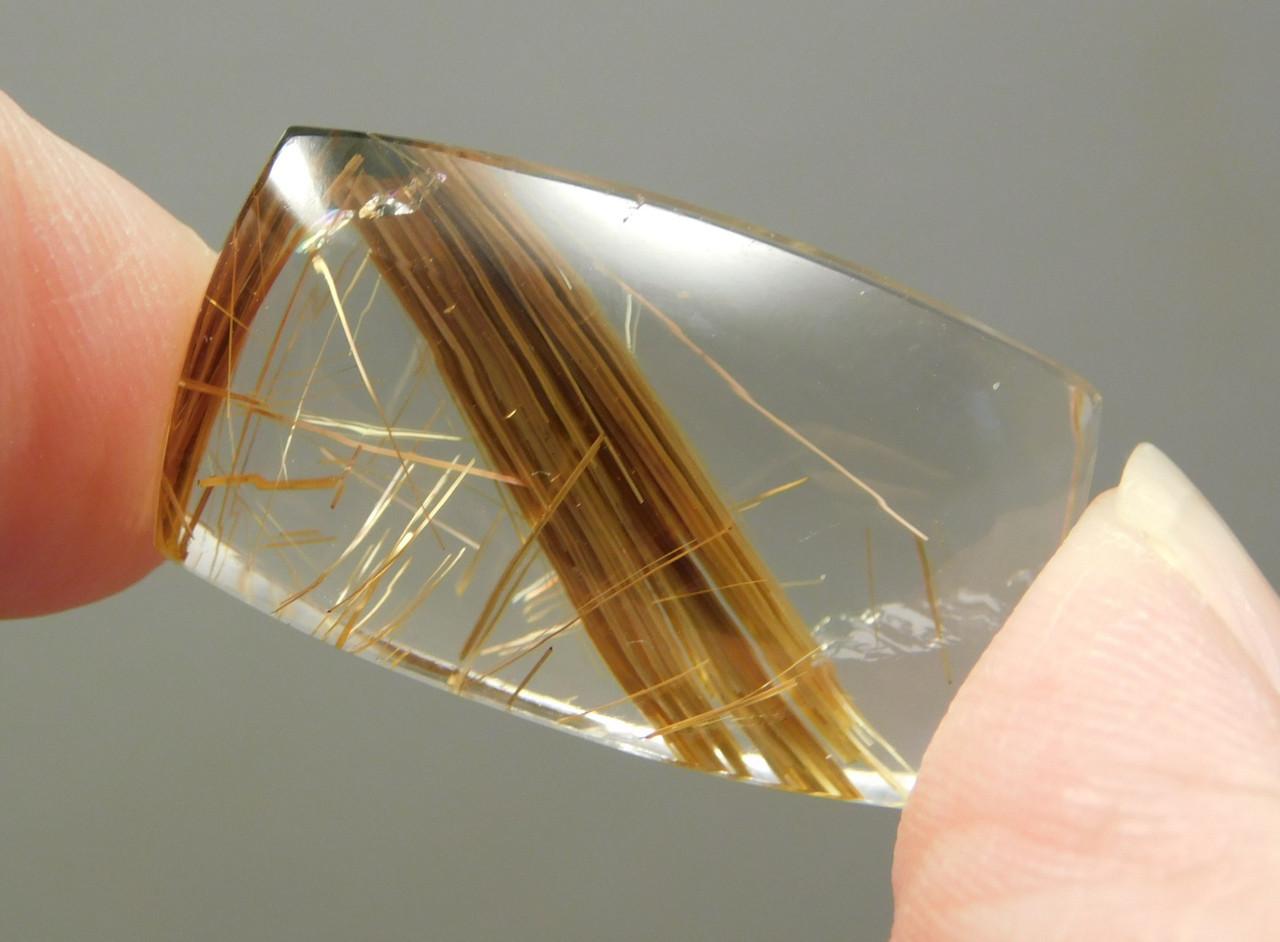 Clear Rutilated Quartz Crystal Gemstone Cabochon #Q1