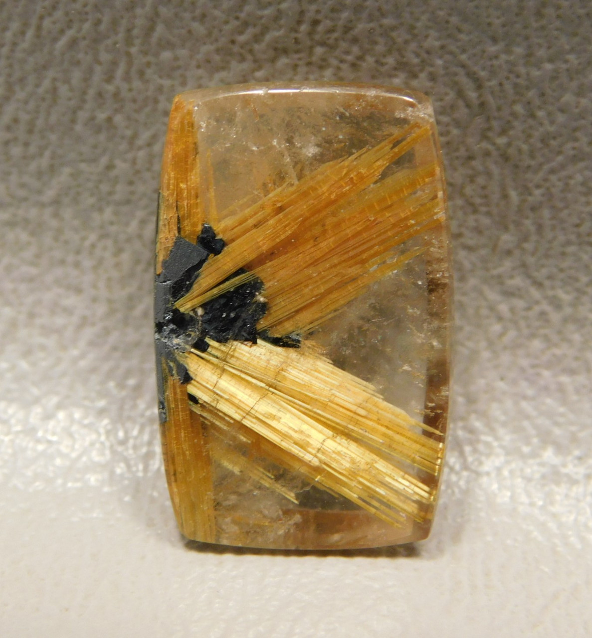 Partial Star Rutilated Quartz Ray Rutile Rectangle Cabochon #RRQ3