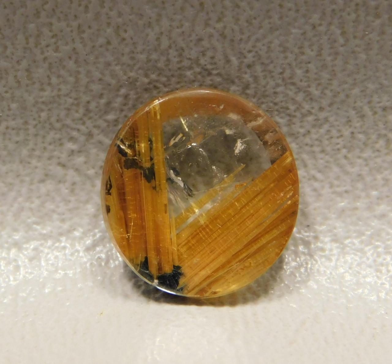 Partial Star Rutilated Quartz Rutile 13 mm Round Ring Cabochon #RRQ9
