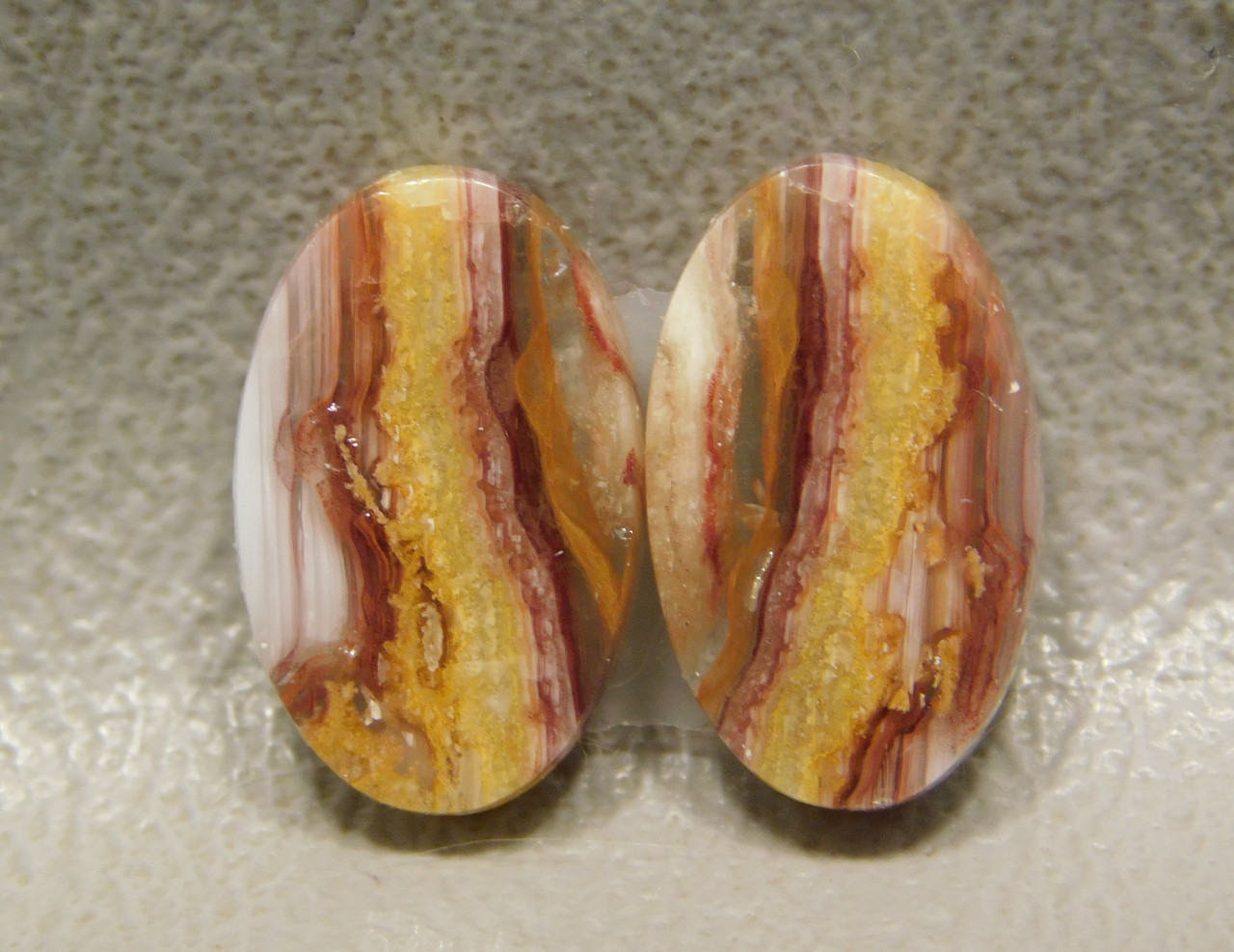 Red Striped Opal Matched Pair Stone Cabochons #21