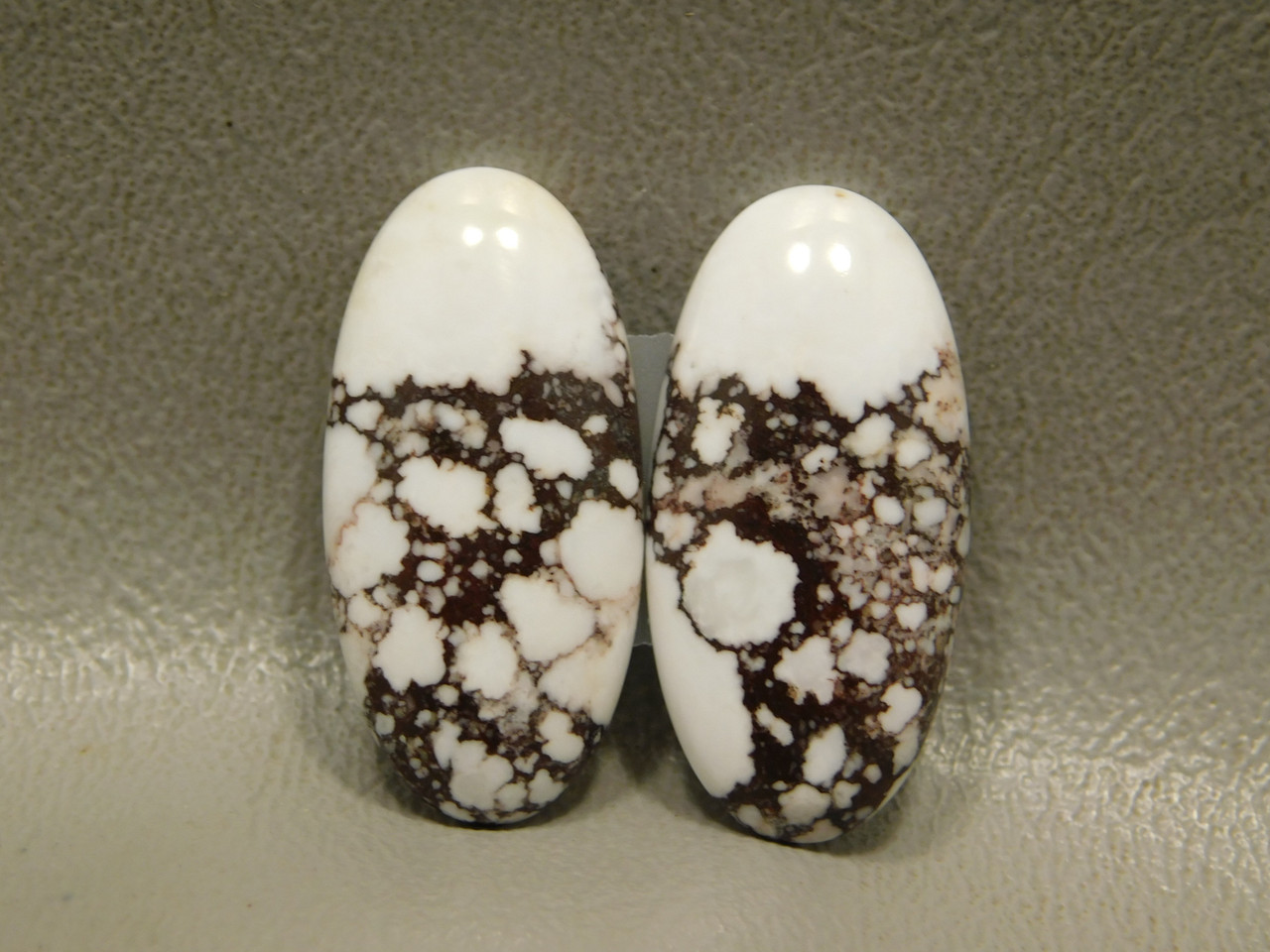 Wild Horse White Stone Cabochons Matched Pair for Jewelry #19