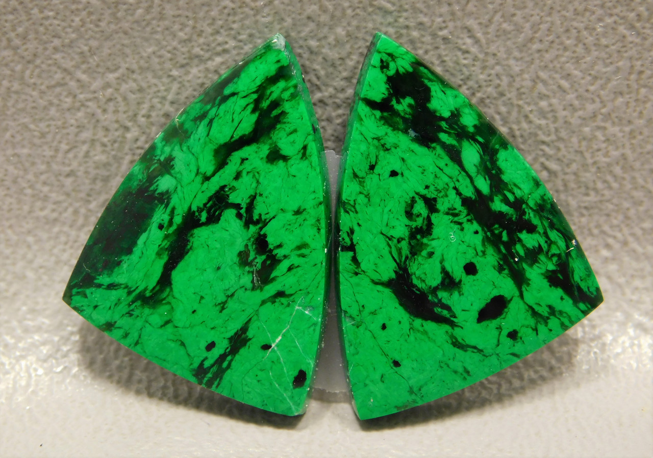Maw Sit Sit Matched Pair Cabochons High Grade Triangles Green #3