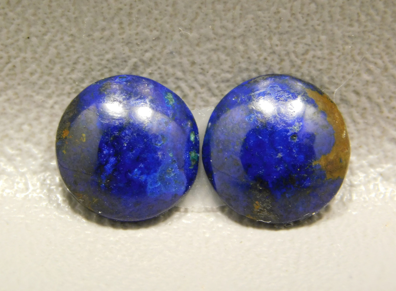 Azurite Malachite Small 11 mm Round Matched Pairs Cabochons #2