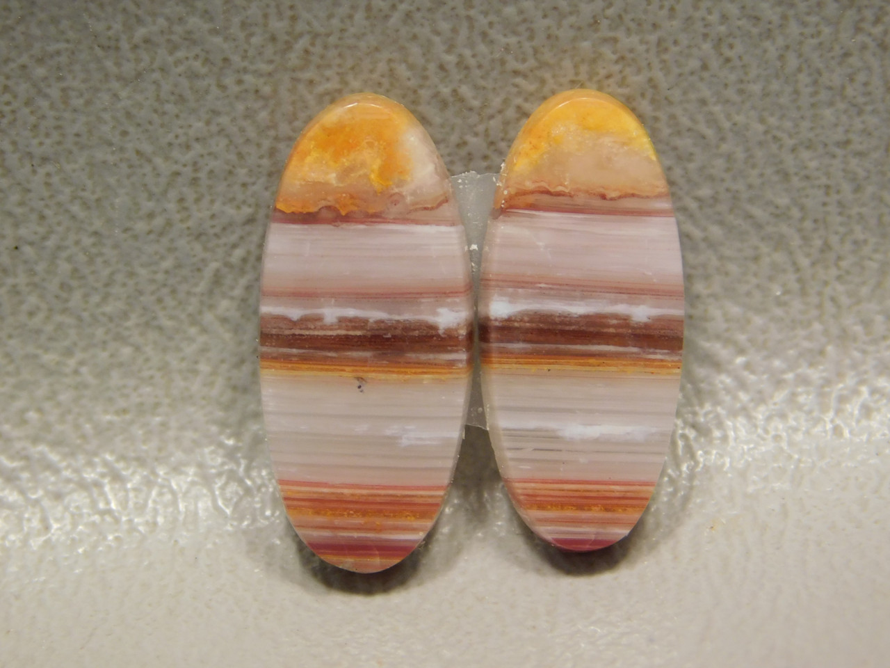 Red Striped Banded Bacon Candy Opal Matched Pair Stone Cabochons #5