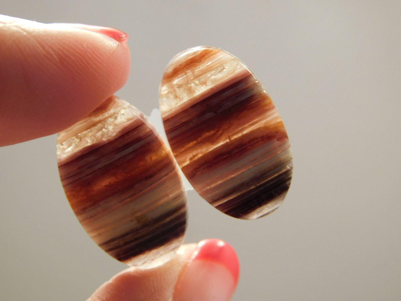 Candy Opal Matched Pair Banded Striped Cabochon Stone #6