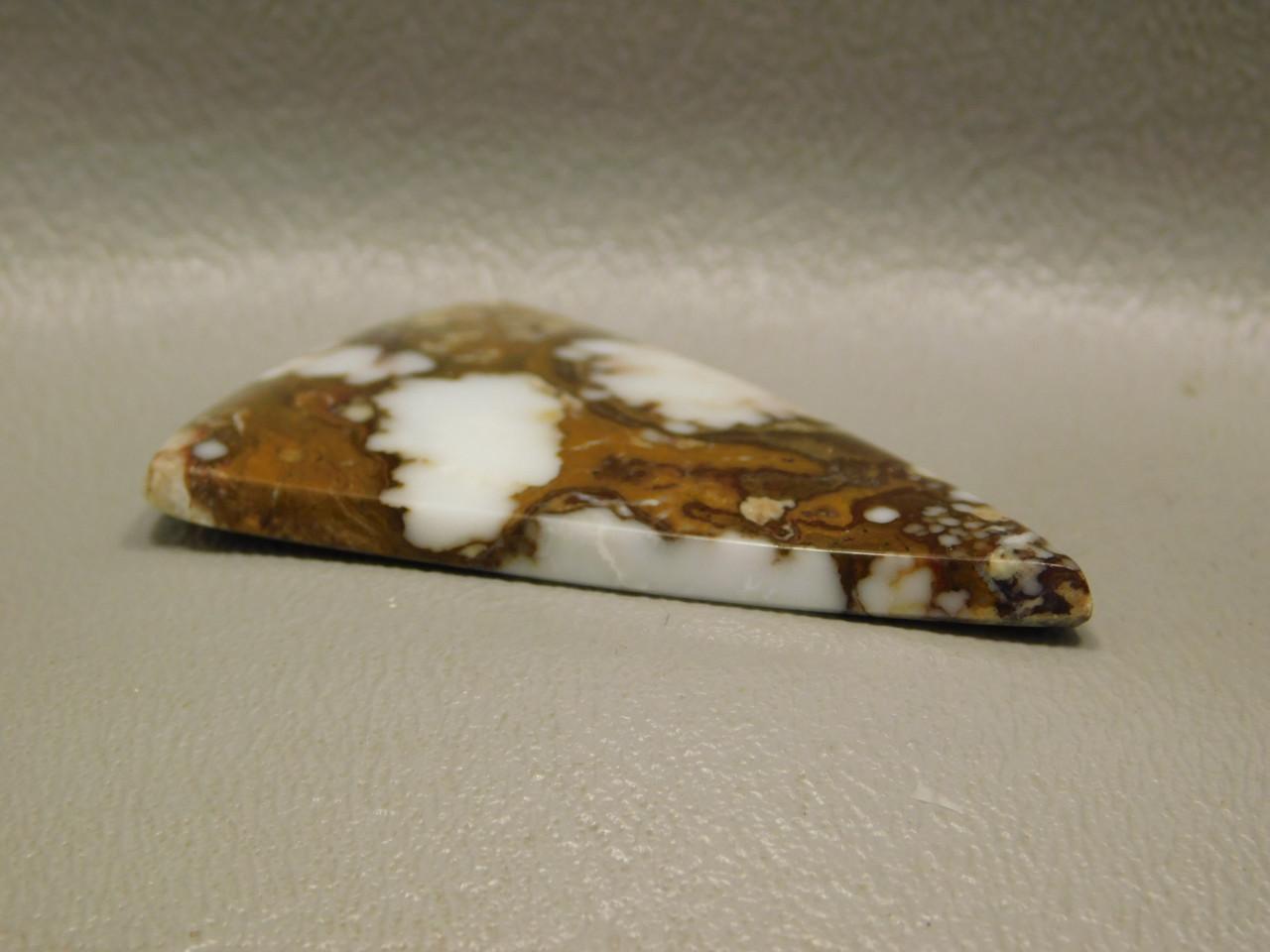 Wild Horse Semi Precious Gemstone Triangle White Brown Cabochon #4