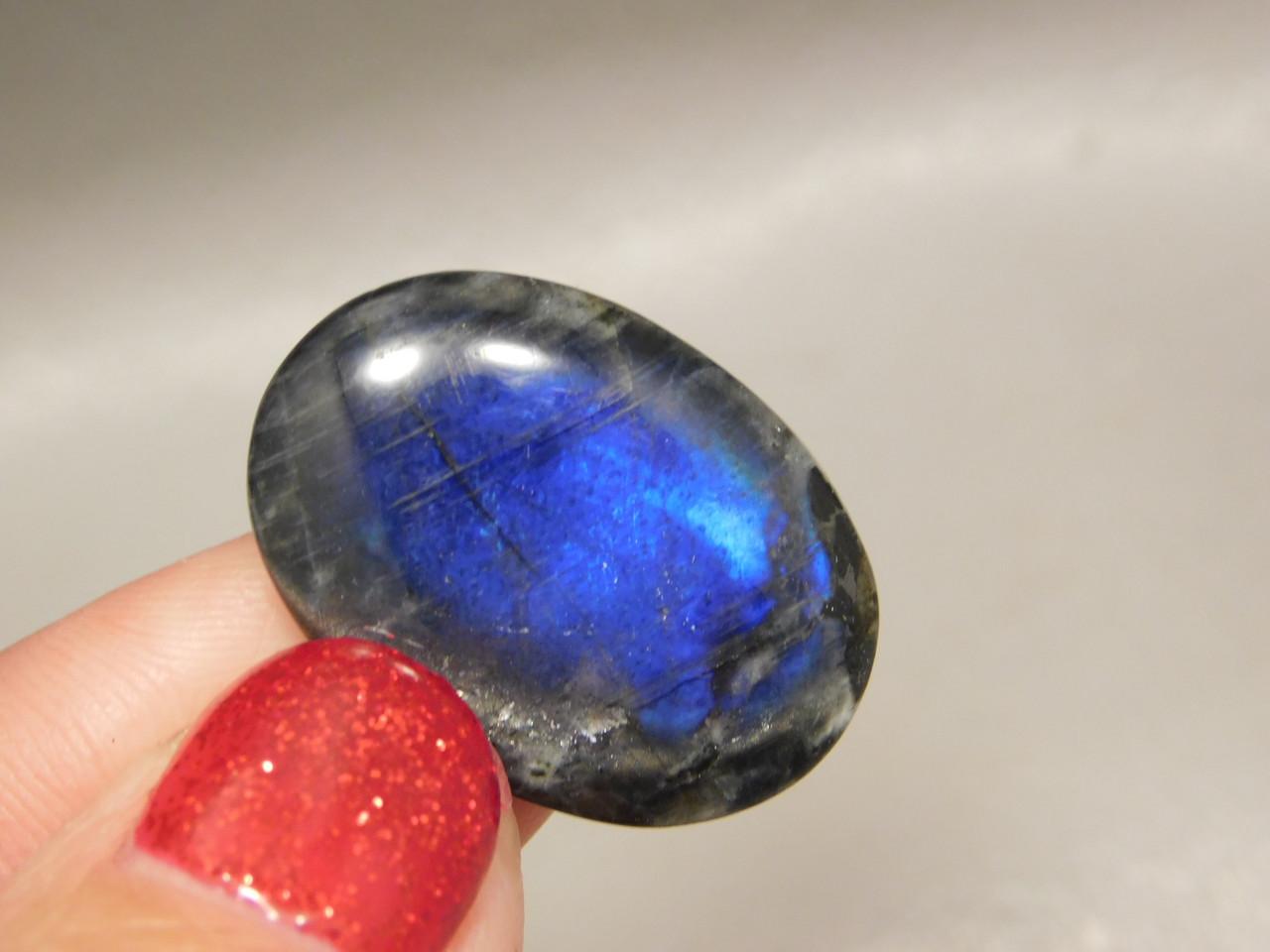 Spectrolite Cabochon Semi Precious Blue Iridescent Oval Stone #5