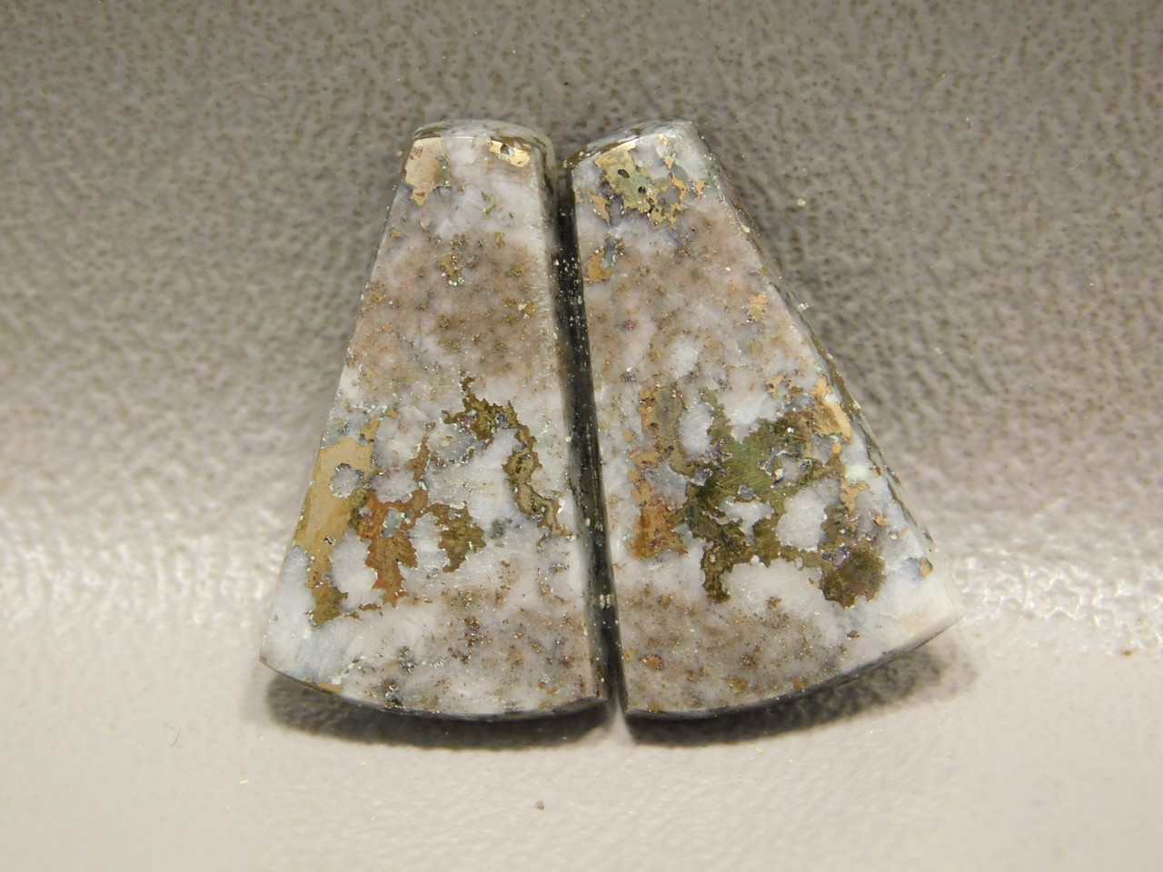 Mohawkite Matched Pair Cabochon Trapezoid Metallic Gemstone #1