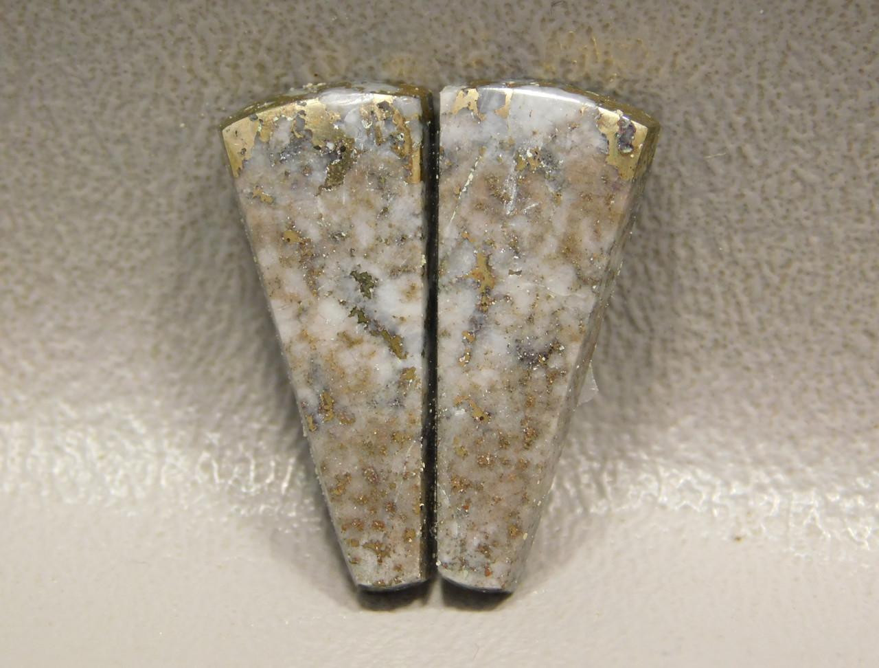 Mohawkite Matched Pair Cabochon Trapezoid Metallic Gemstone #10