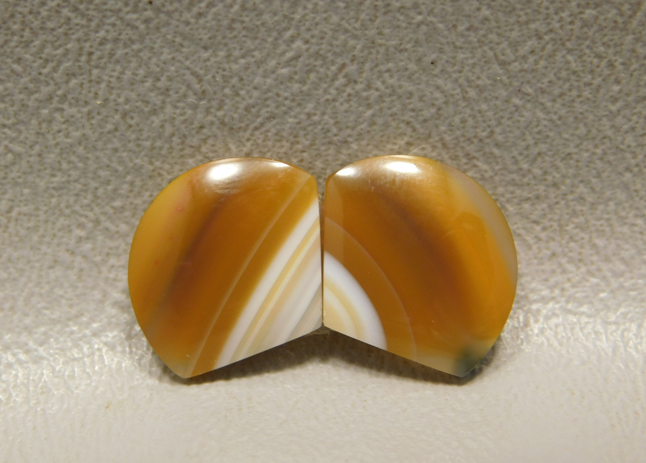 Brazilian Piranha Banded Agate Matched Pair Cabochons Shield #13