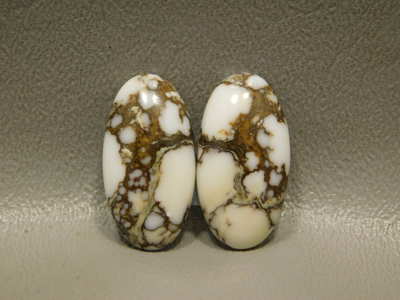 Wild Horse White Stone Cabochons Ovals Matched Pairs for Earrings  #28