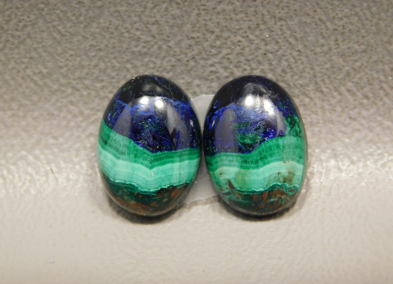 Azurite Malachite 14 mm by 10 mm Ovals Matched Pairs Cabochons #25