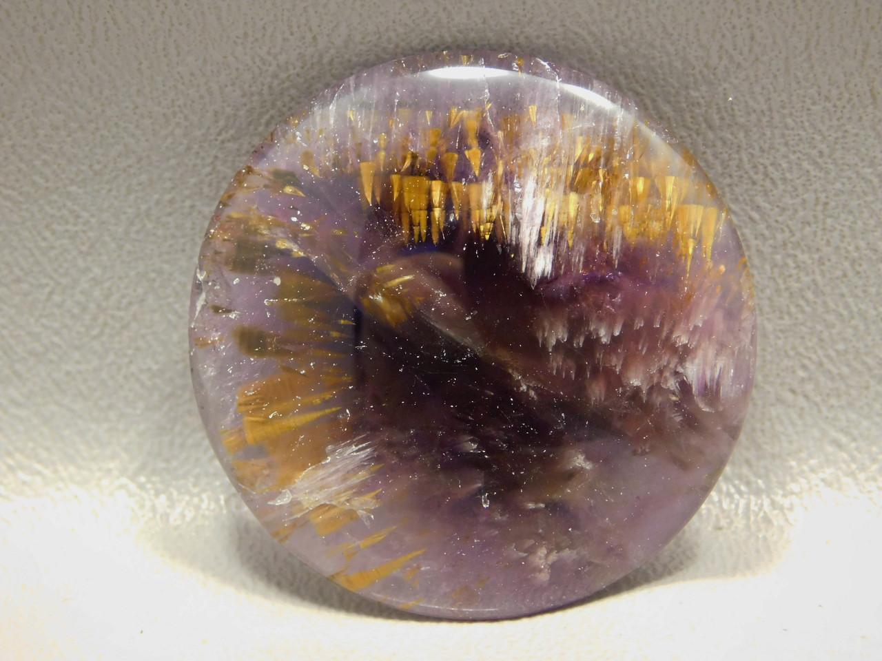 Cacoxenite Amethyst Quartz Super Seven Gemstone Cabochon Round #480