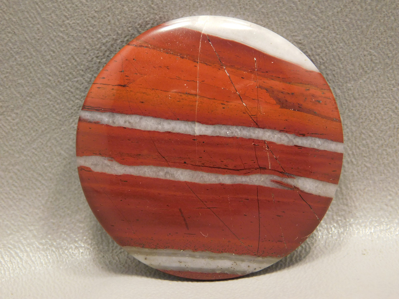 Red Jasper White Striped Round Cabochon Semiprecious Stone #8