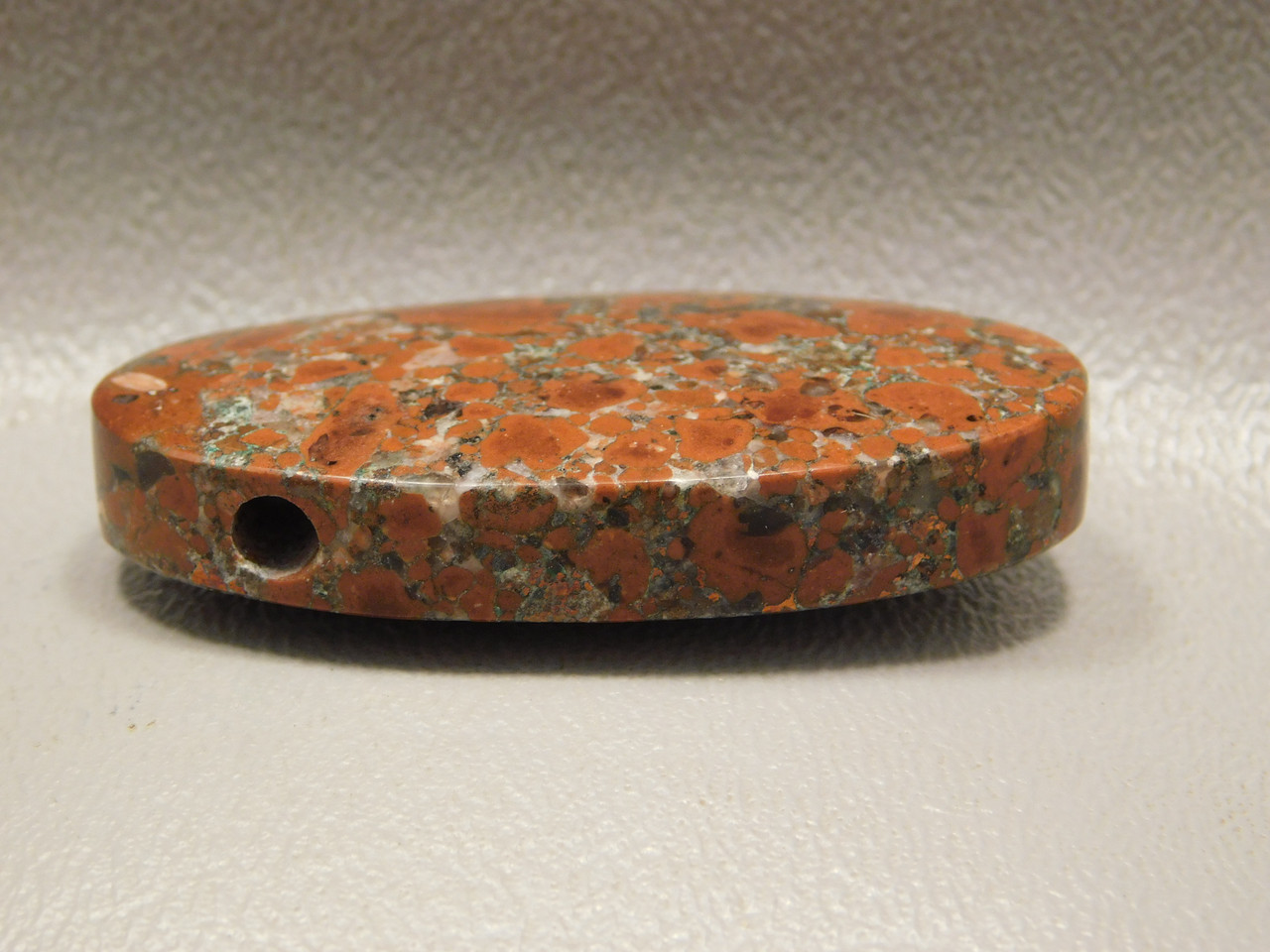 Native Copper Rose Red drilled Stone Focal Point Bead Pendant #2