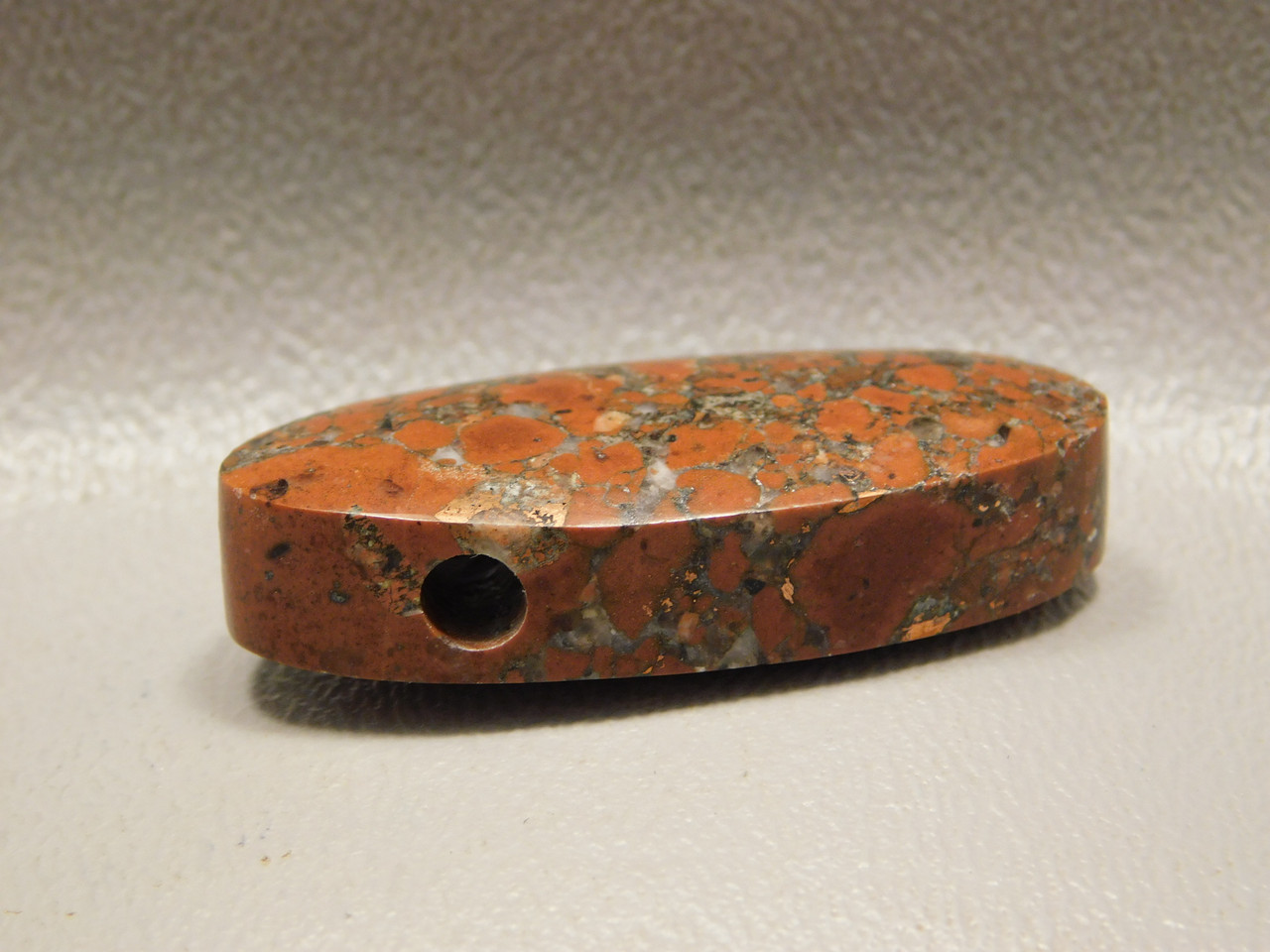 Natural Native Copper Rose Red Stone Focal Point Bead Pendant #1