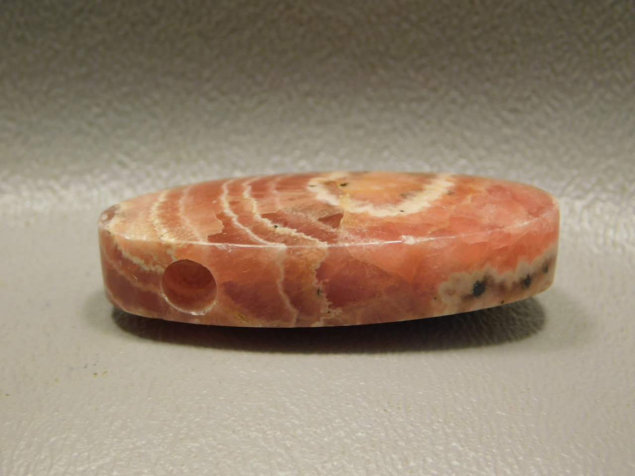 Rhodochrosite Pink Side Drilled Stone Oval Bead Pendant #4