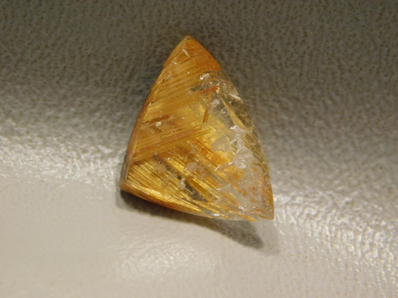 Partial Starburst Rutilated Quartz Rutile Triangle Cabochon #RRQ15