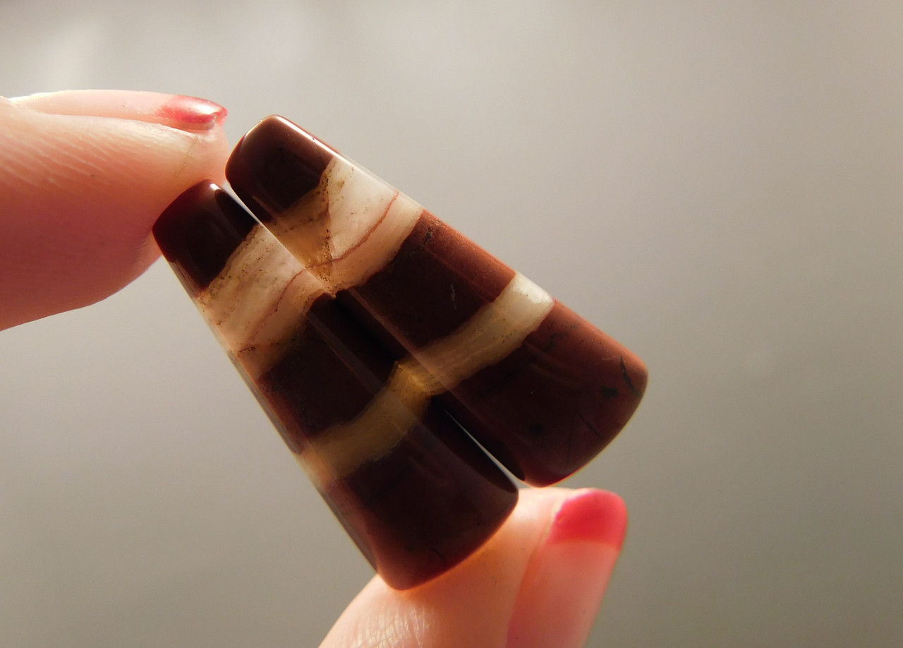 Red Jasper Matched Pairs White Striped Cabochons Stones #2