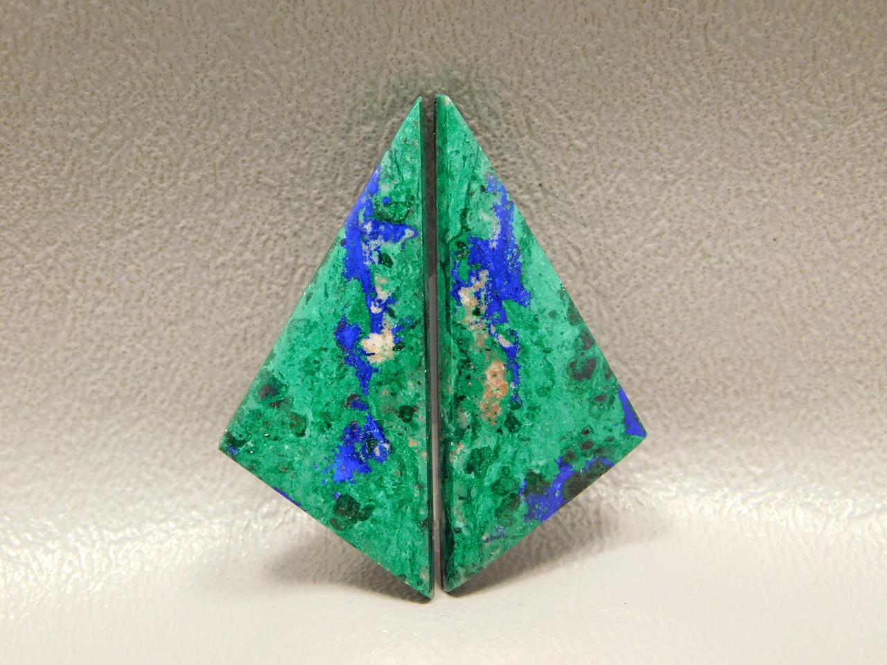 Azurite-Malachite Matched Pairs Cabochons Triangle Stones #33