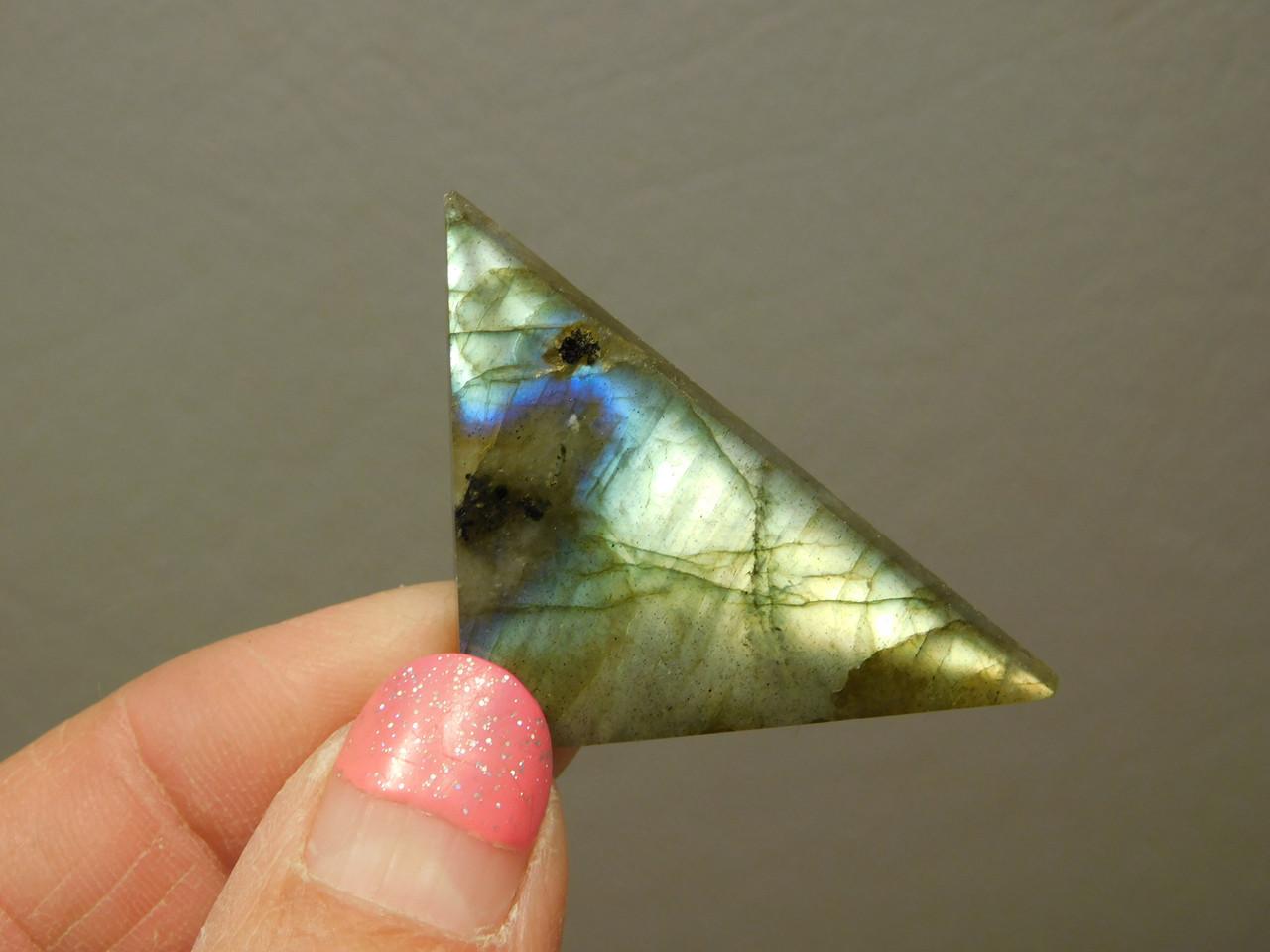 Rainbow Labradorite Cabochon Gemstone Triangle Stone #6