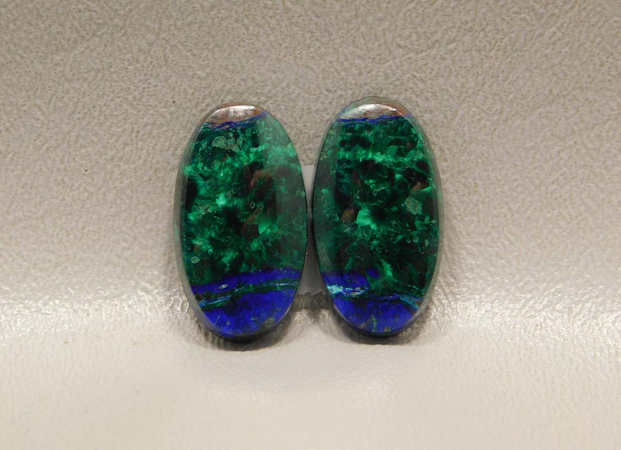 Azurite-Malachite Matched Pair Cabochons Blue Chatoyant Green #26