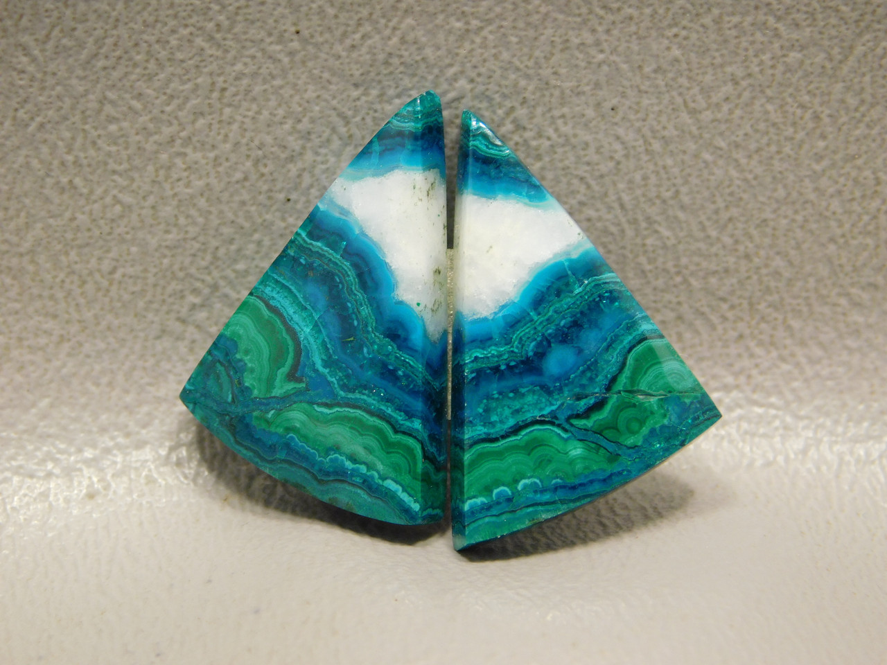 Chrysocolla Malachite Matched Pairs Triangles Cabochons Stones #8