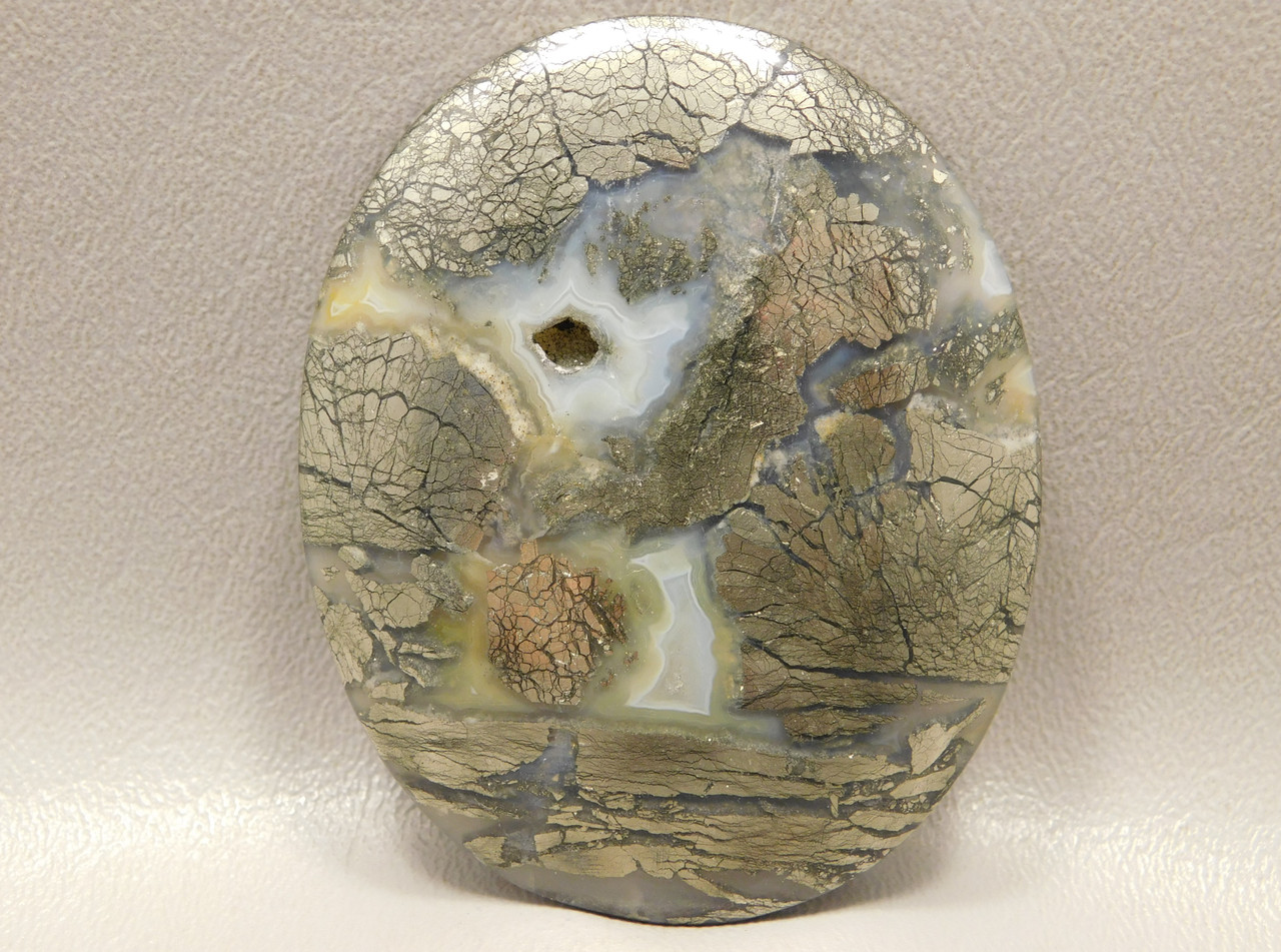 Nipomo Agate Large Stone Collector Cabochon Marcasite Agate  XL3