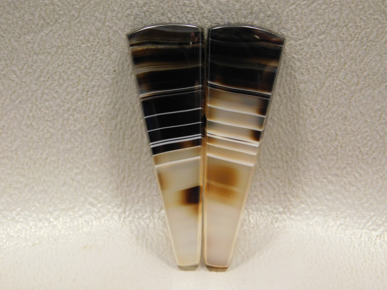Tuxedo Agate Banded Black Matched Pair Cabochons #6