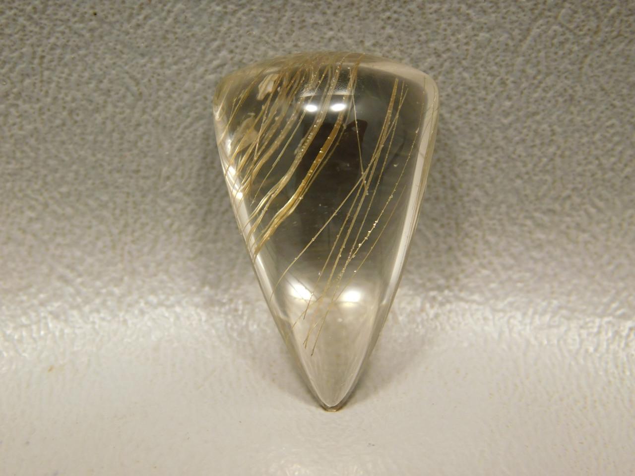 Clear Rutilated Quartz Crystal Gemstone Cabochon High Dome #Q18
