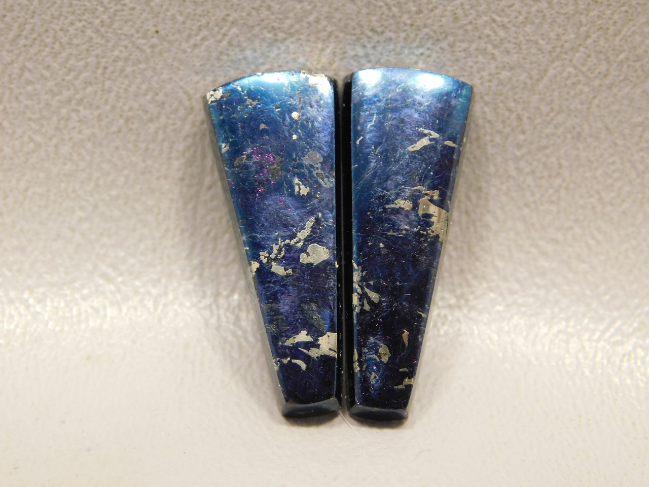 Covellite Metallic Blue Gold Pyrite Cabochons Matched Pairs #36