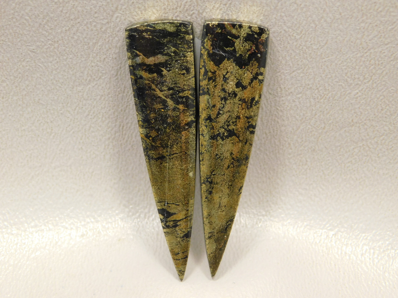 Apache Gold Matched Pair Cabochons Long Thin Triangles Stones #2