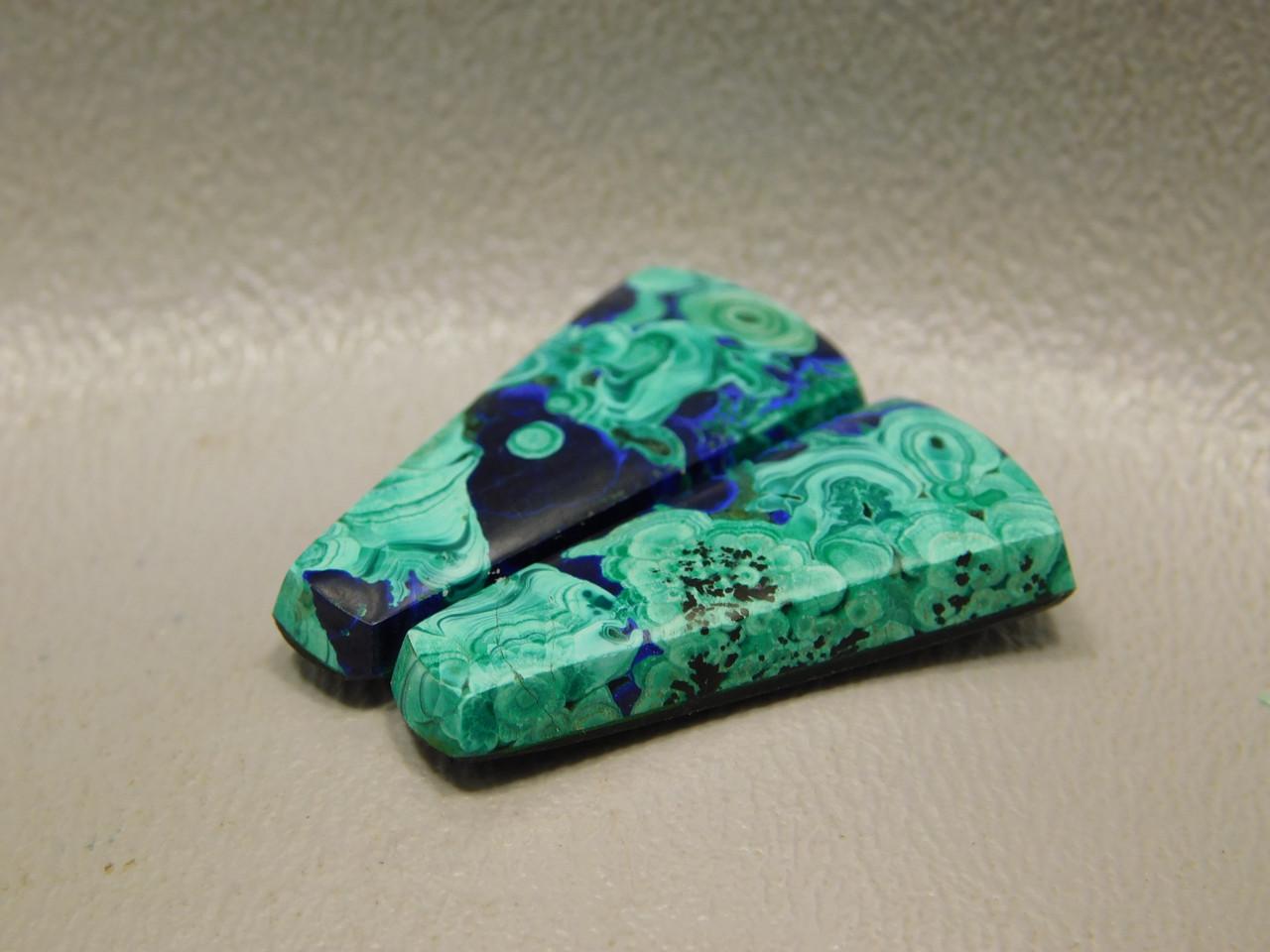 Azurite-Malachite Matched Pair Cabochons Trapezoids Gemstones #11