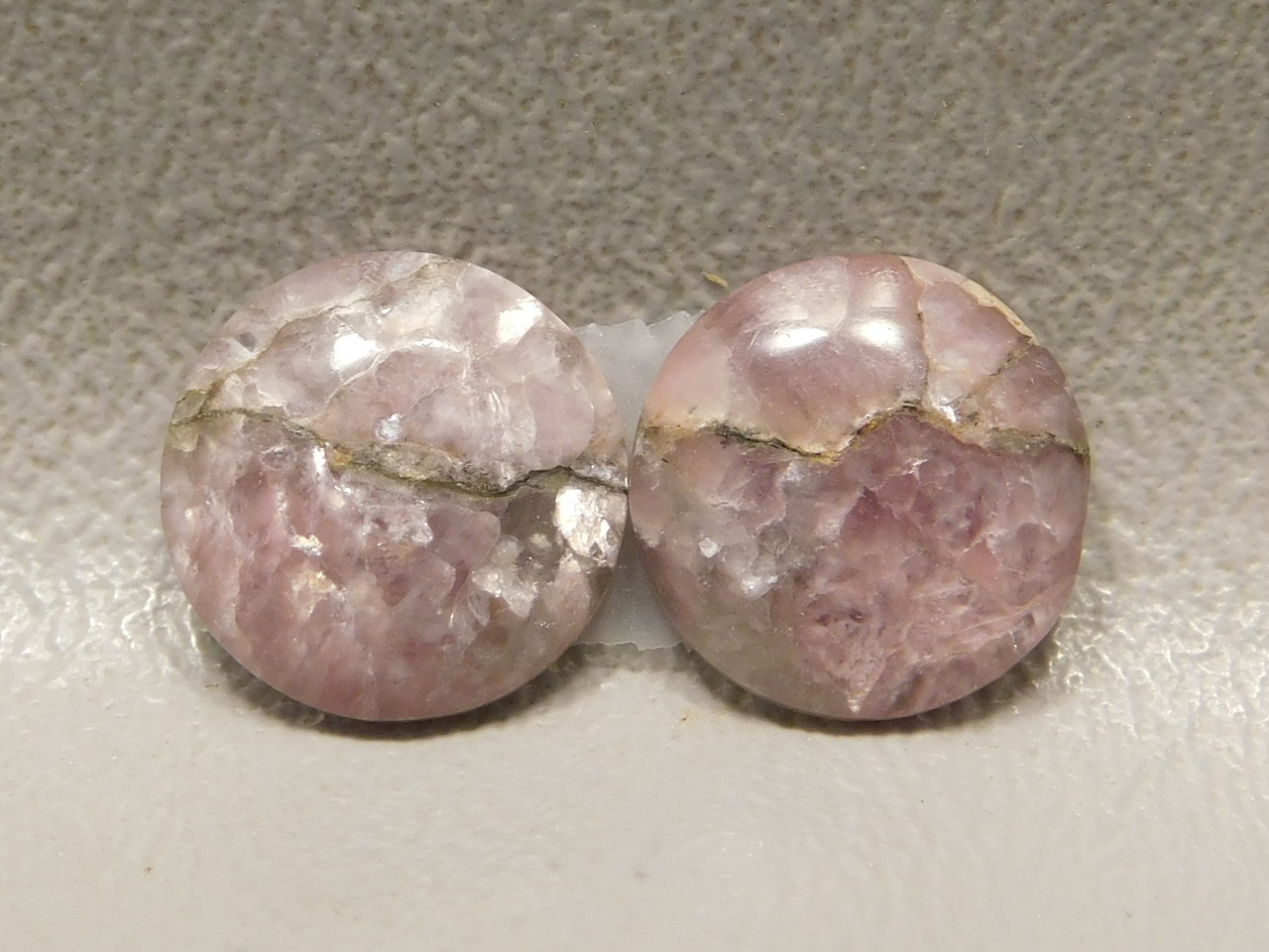 Purple Lepidolite 13 mm Round Matched Pair Stones Cabochons #15