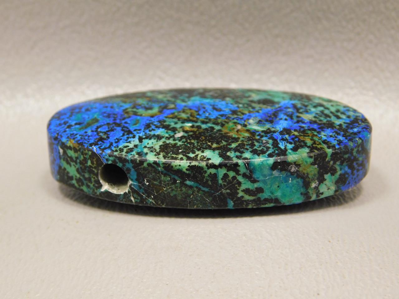 Azurite Malachite Top Drilled Stone Oval Gemstone Bead Pendant #2