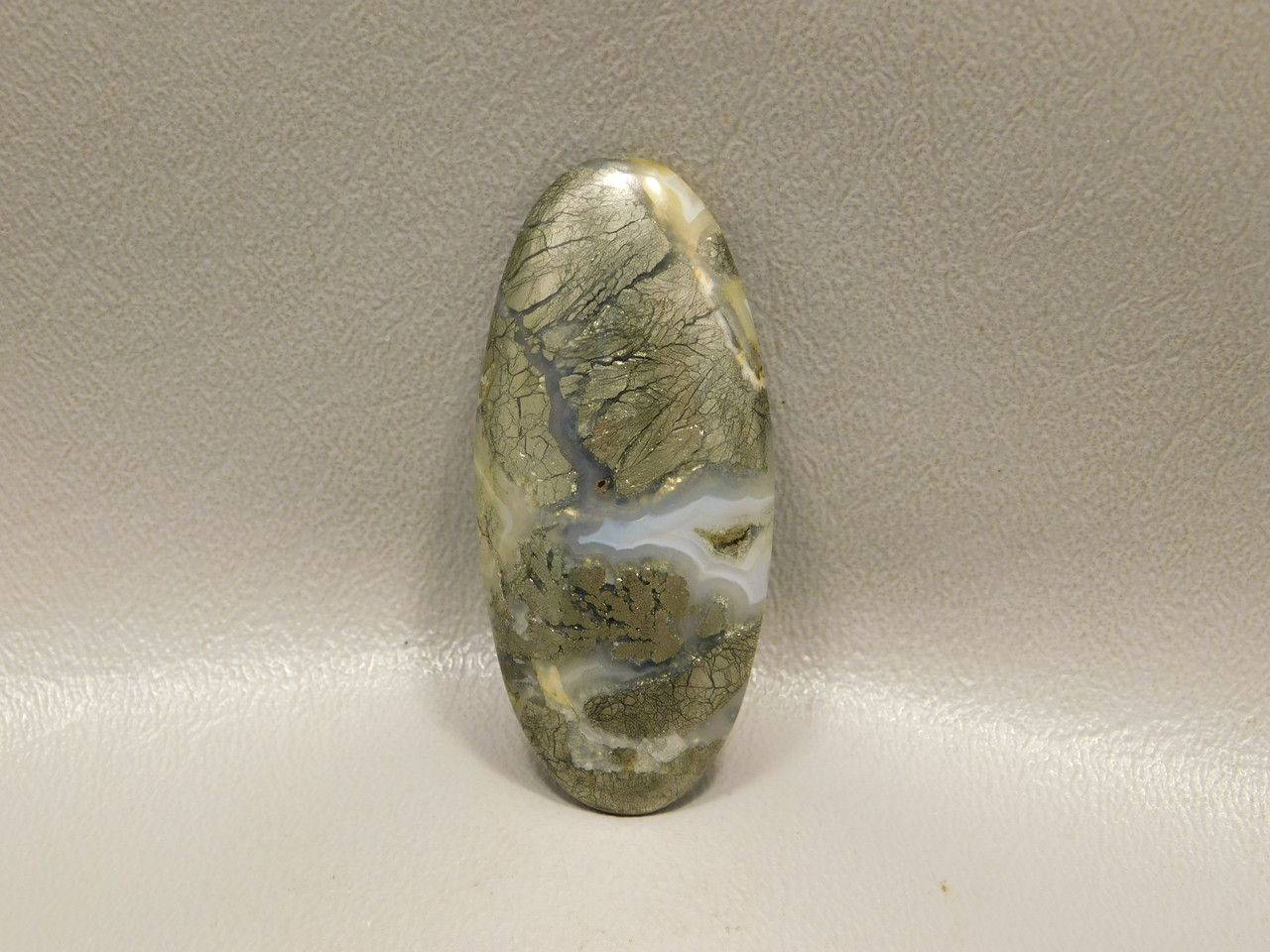 Gold Marcasite and Pyrite  Nipomo Plume Agate Cabochon Stone #9