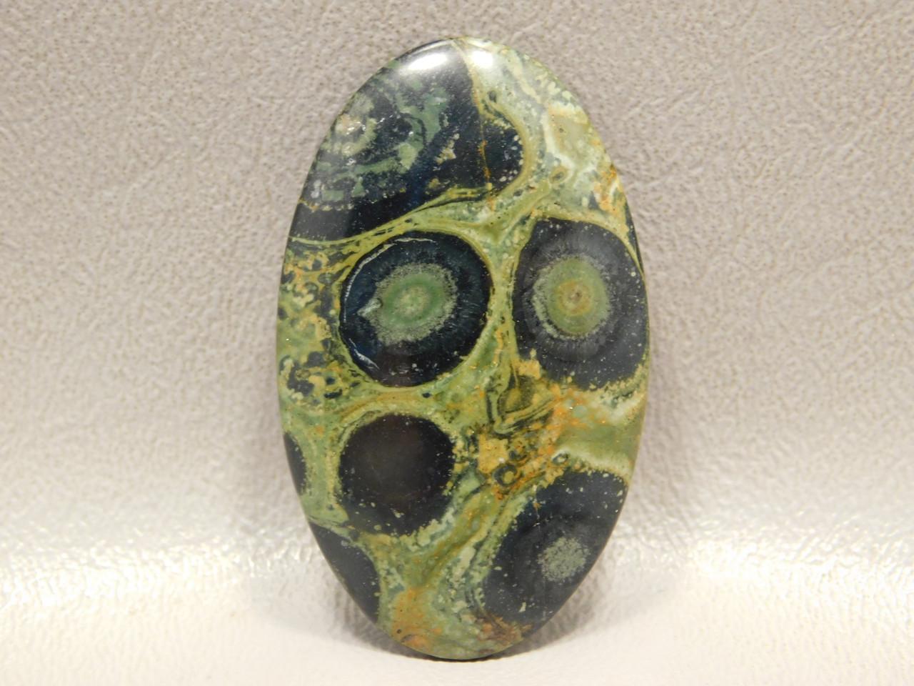 Cabochon Kabamba Jasper Fossil Green Black Orbs Stone #14