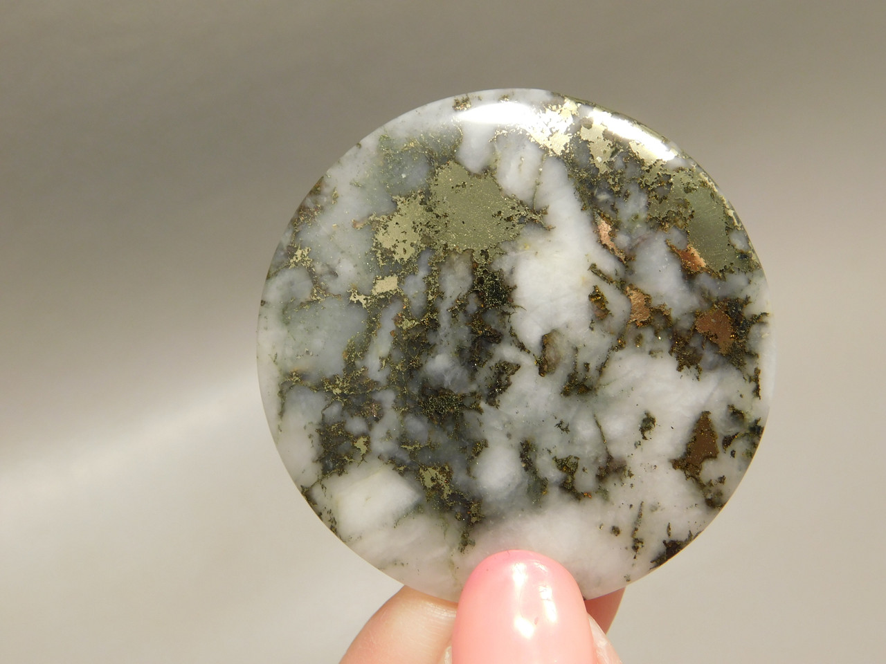 Mohawkite Cabochon 40 mm Round Silver Gold Gemstone #6