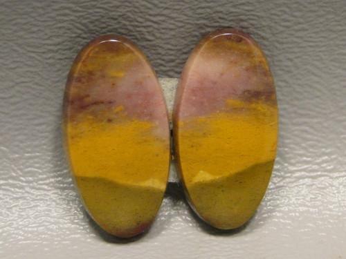 matched pair semi precious gemstone Mookaite Jasper cabochons