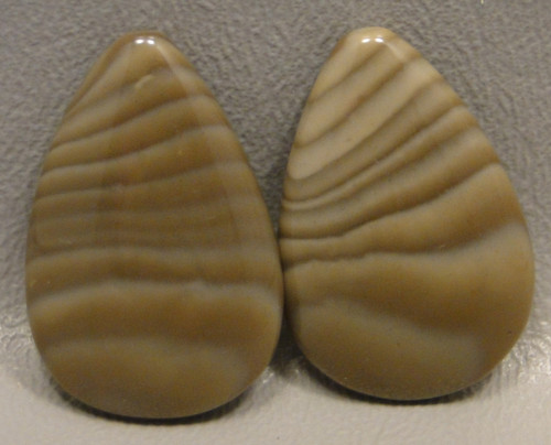 Polish Flint Matched Pair Cabochons #3