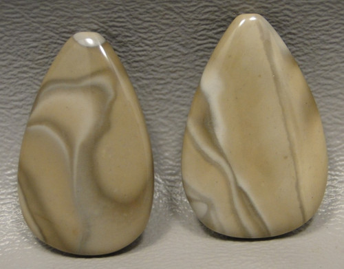 Polish Flint Matched Pair Stone Cabochon Semi Precious Designer Gemstone 1-2