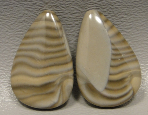 Polish Flint Matched Pair Stone Cabochon Semi Precious Designer Gemstone 4-2