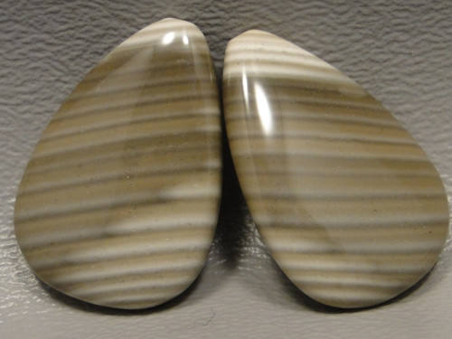 Polish Flint Matched Pair Stone Cabochon Semi Precious Designer Gemstone 10-2