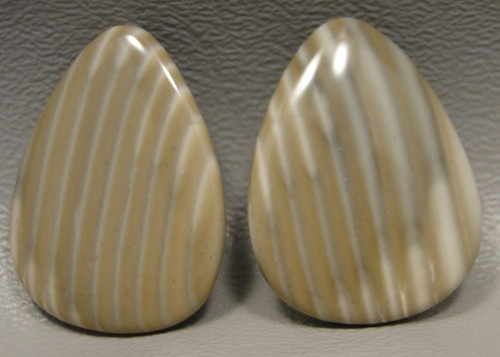Polish Flint Matched Pair Stone Cabochon Semi Precious Designer Gemstone 15
