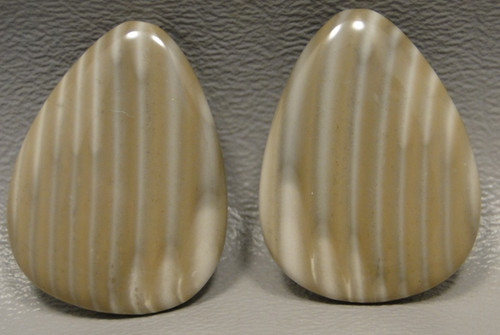 Polish Flint Matched Pair Stone Cabochon Semi Precious Designer Gemstone 15-2