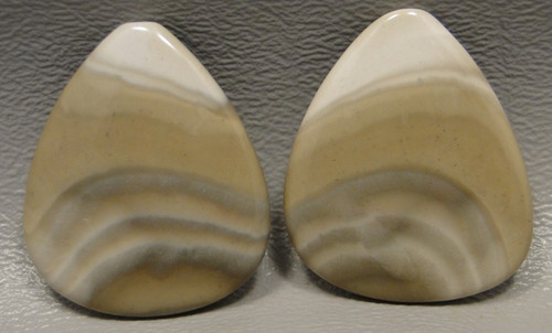 Polish Flint Matched Pair Stone Cabochon Semi Precious Designer Gemstone 6