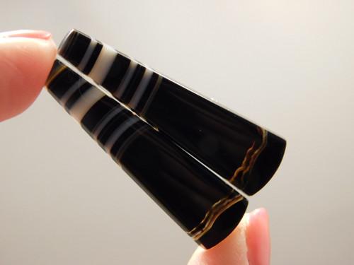 Tuxedo Agate Custom Cut Matched Pair Stone Cabochons #5