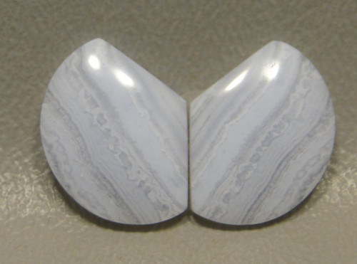 Blue Lace Agate Matched Pair Designer Gemstone Cabochons #18
